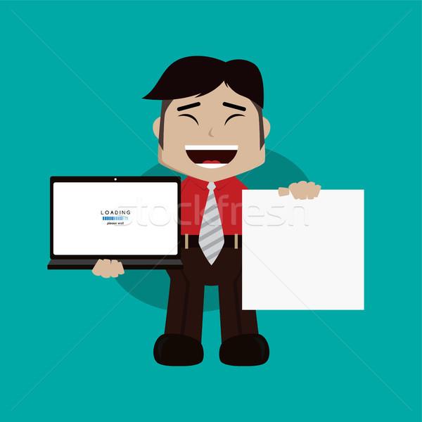 üzletember menedzser munka tart laptop rajz Stock fotó © vector1st
