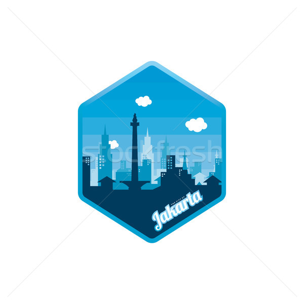 Stock photo: city of jakarta label badge sticker logo template