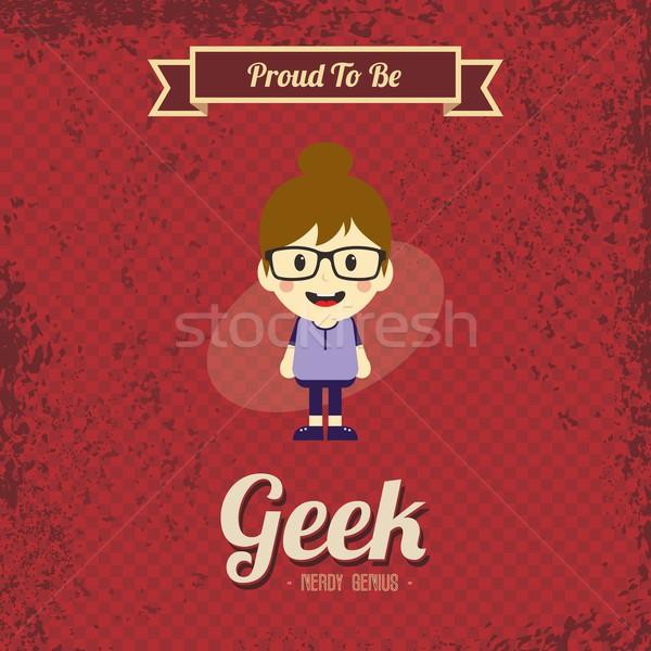 Genio geek retro cartoon vettore arte Foto d'archivio © vector1st
