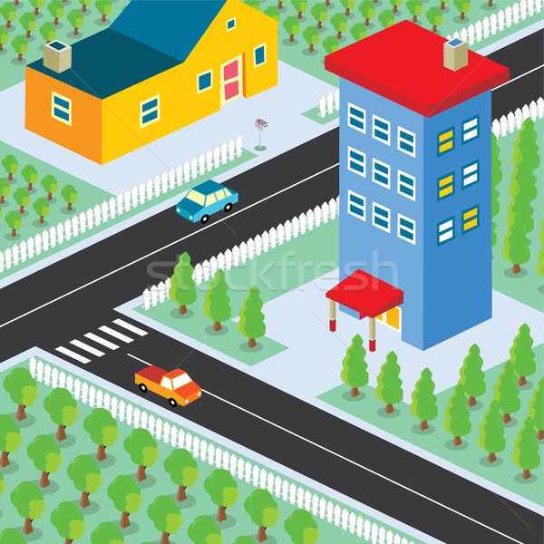 Isométrica residencial ver desenho animado família casa Foto stock © vector1st