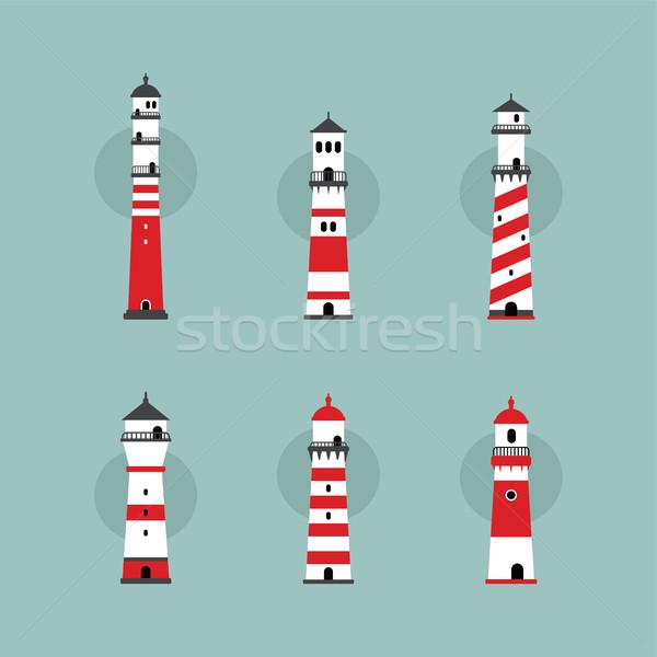 beach lighthouse set Stock photo © vector1st