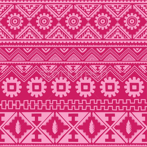 Fényes rózsaszín őslakos amerikai kisebbségi minta Stock fotó © vector1st