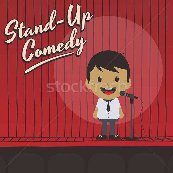 Mężczyzna stoją w górę komik muzyki Zdjęcia stock © vector1st