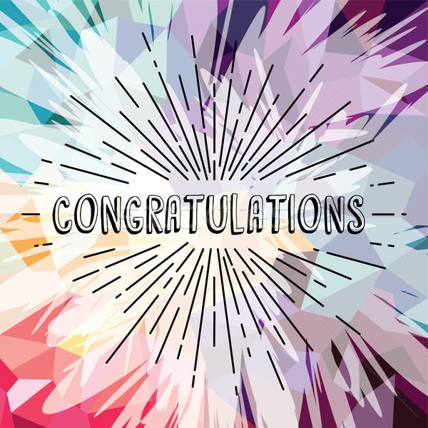 congratulations greetings sunrays retro theme Stock photo © vector1st