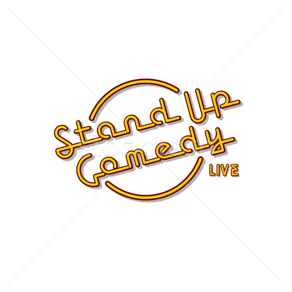 Stand omhoog komedie neonreclame lamp vector Stockfoto © vector1st