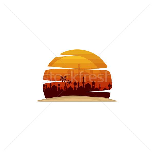 Sunshine мечети знак символ вектора искусства Сток-фото © vector1st