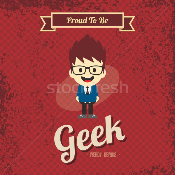 genius geek retro cartoon Stock photo © vector1st