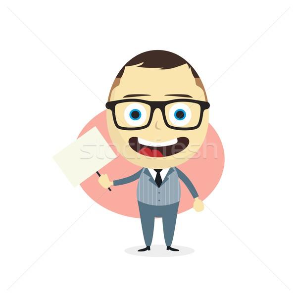 Geschäftsmann halten Zeichentrickfigur Vektor Kunst Stock foto © vector1st