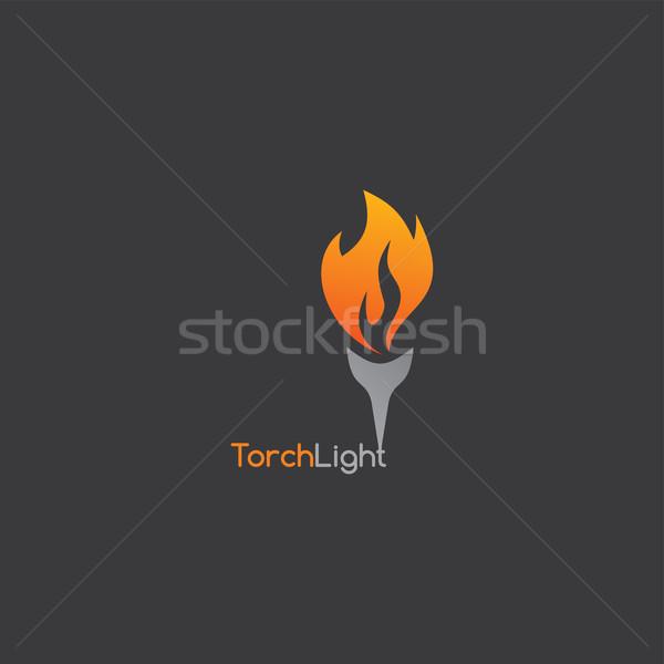 Tűz zseblámpa sablon vektor művészet illusztráció Stock fotó © vector1st