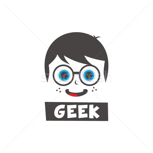 young geek cartoon Stock photo © vector1st