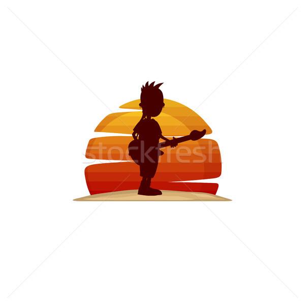 Gitarist muzikant silhouet vector kunst muziek Stockfoto © vector1st
