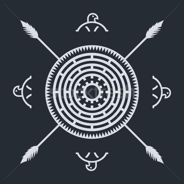 Inlander etnische kunst symbool weefsel adelaar Stockfoto © vector1st