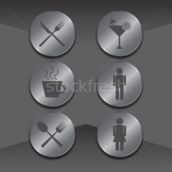 Ikon gomb média vektor grafikus művészet Stock fotó © vector1st