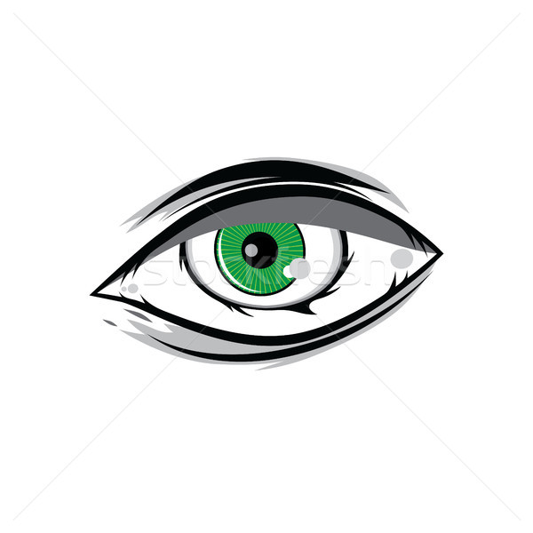 cartoon angry green horus god eyes for comics design vector art Stock photo © vector1st