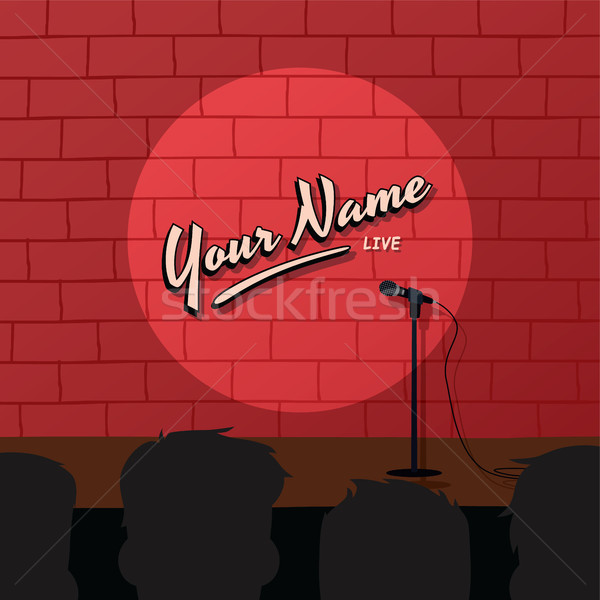 Stock photo: red brick stand up comedy cartoon theme vector illustration