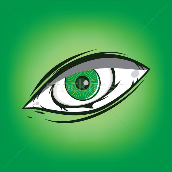 Stock photo: The All Seeing Eye - Green Firey Flame Illuminati Freemasonry Vector