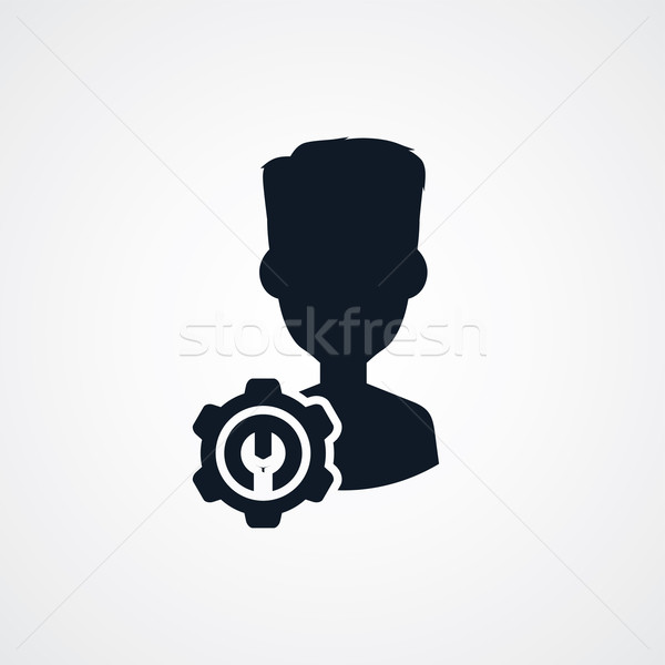 Avatar portret cog icon vector kunst Stockfoto © vector1st