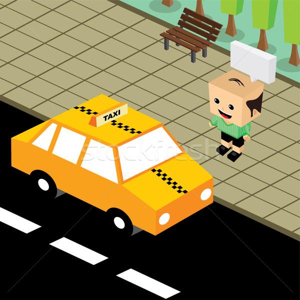 Cartoon isometrische taxi vector kunst illustratie Stockfoto © vector1st