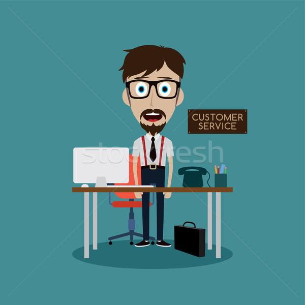 Empresário trabalhando atrás mesa de escritório vetor arte Foto stock © vector1st