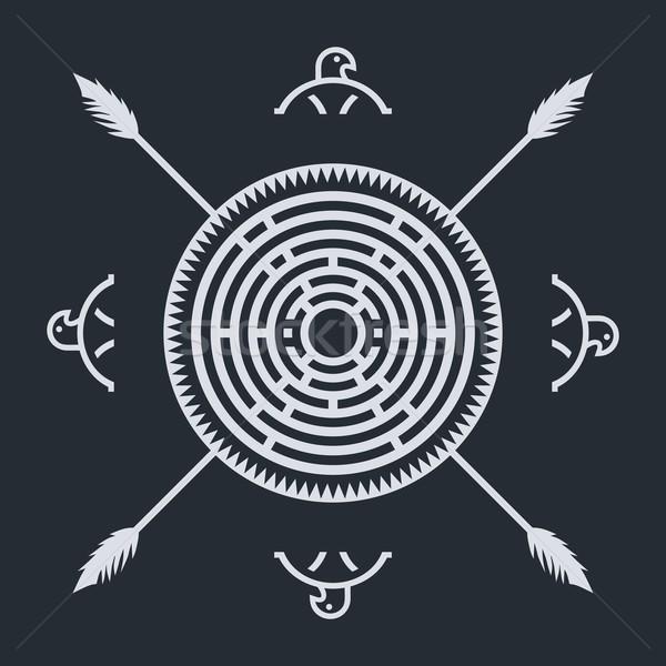őslakos kisebbségi művészet szimbólum szövet sas Stock fotó © vector1st