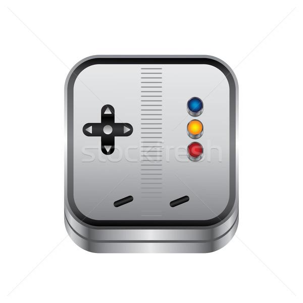 Juego consolar botón metal vector arte Foto stock © vector1st