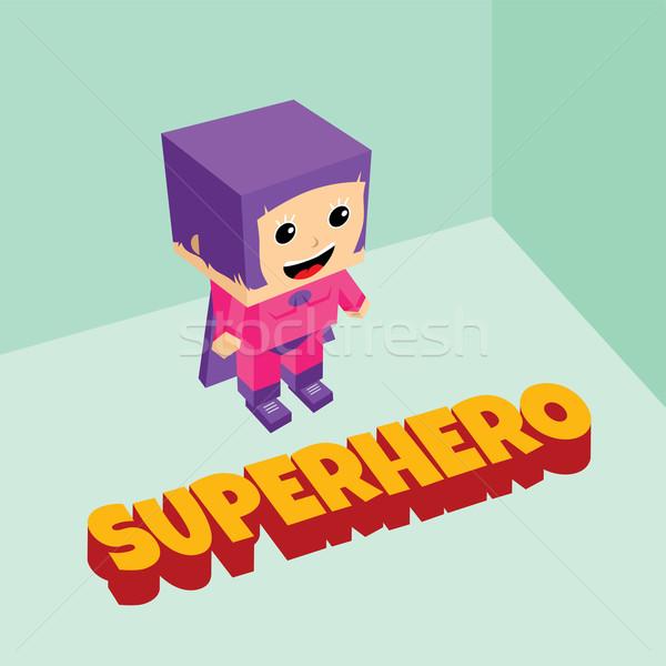 amazing female superhero isometric theme Stock photo © vector1st
