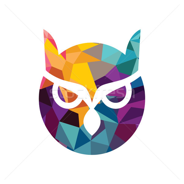 Wektora Sowa logo odizolowany niebieski żółty Zdjęcia stock © vector1st