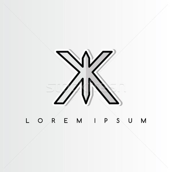 double k overlaping sign logo logotype vector art Stock photo © vector1st