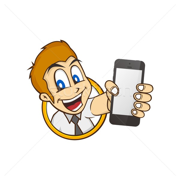 cartoon guy holding phone Stock photo © vector1st