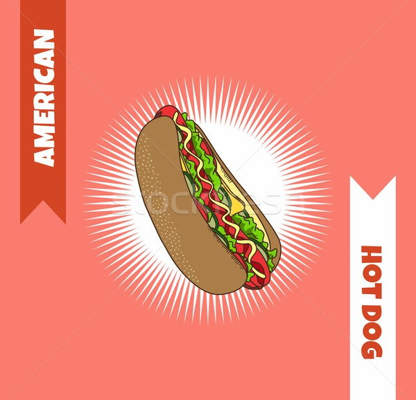 Hot dog voedsel vector kunst grafische illustratie Stockfoto © vector1st