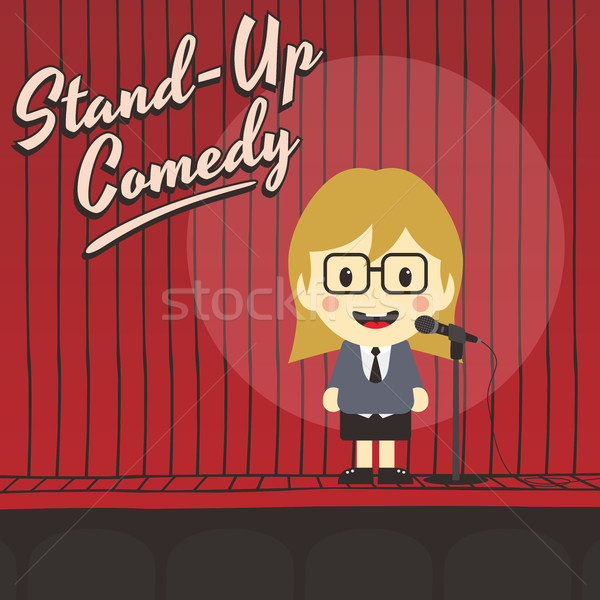 female stand up comedian cartoon character Stock photo © vector1st