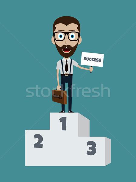 Siker üzletember első pódium aktatáska felirat Stock fotó © vector1st
