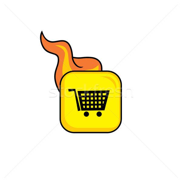 Bolt vásárol piac forró láng ikon Stock fotó © vector1st