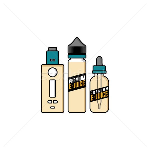Stock photo: personal vaporizer e-cigarette e-juice liquid plastic bottle