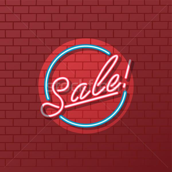 Satış neon vektör sanat örnek ışık Stok fotoğraf © vector1st