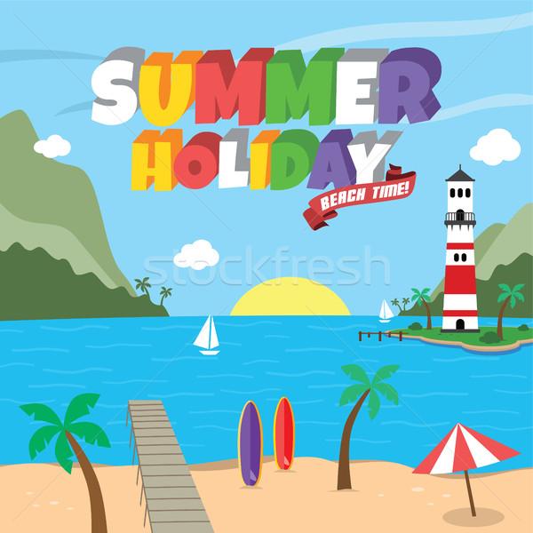 Summer holiday retro cartoon theme Stock photo © vector1st