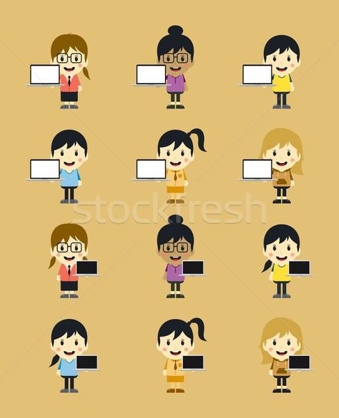 Bonitinho menina laptop conjunto gráfico Foto stock © vector1st