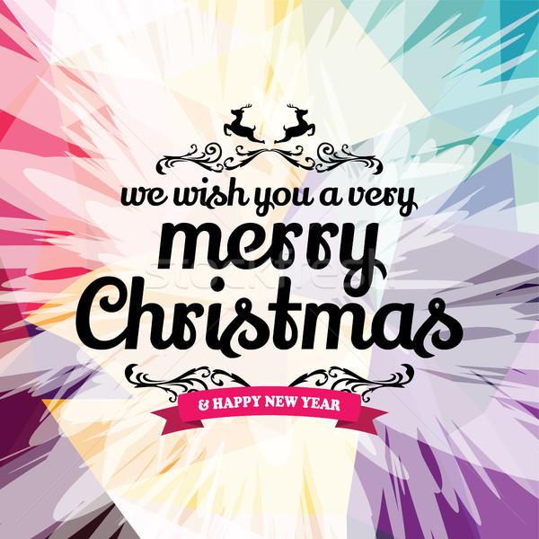 Kívánság vidám karácsony színes szöveg vektor Stock fotó © vector1st