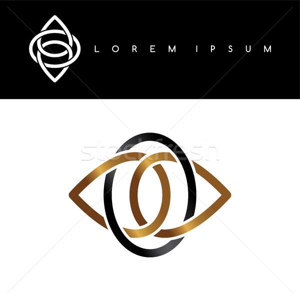 Floreale oro nero abstract logo Foto d'archivio © vector1st