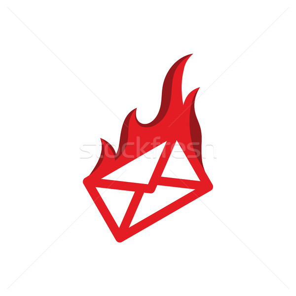 message mail on fire burning red flame hot logo vector illustration