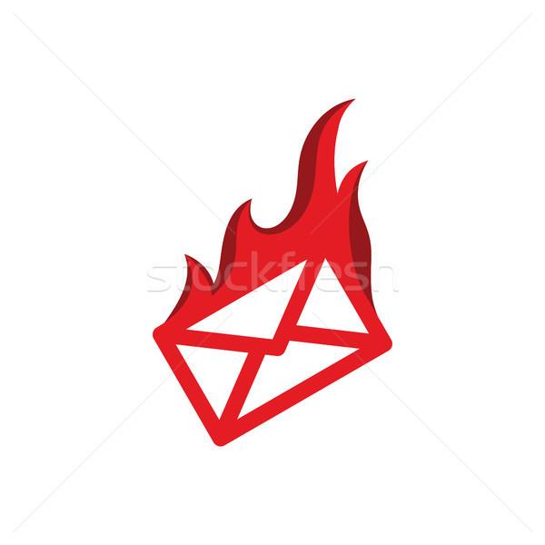 Mensagem e-mail fogo ardente vermelho chama Foto stock © vector1st