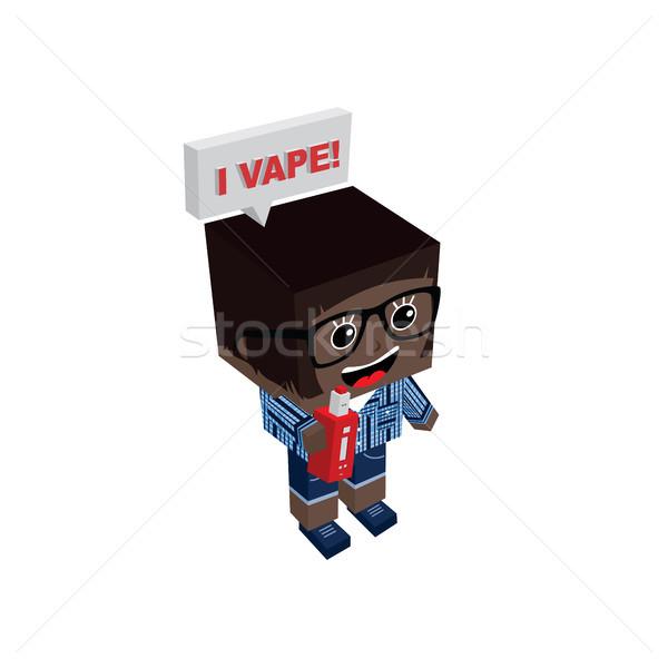 isometric block electric cigarette girl personal vaporizer Stock photo © vector1st