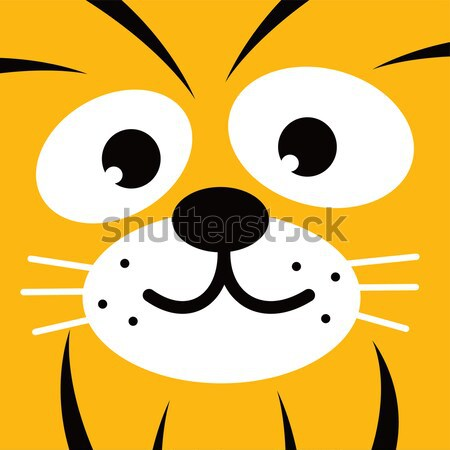 square leopard face icon button Stock photo © vector1st