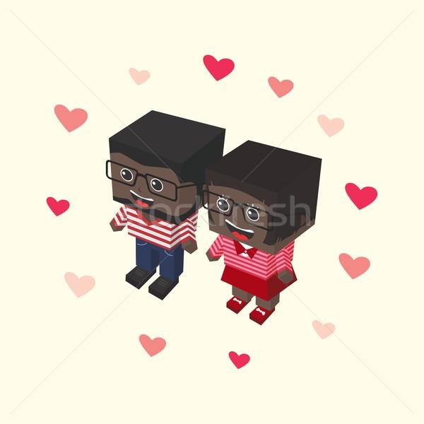 Sevmek çift izometrik vektör sanat Stok fotoğraf © vector1st