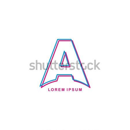 Neon licht brief merk logo sjabloon Stockfoto © vector1st