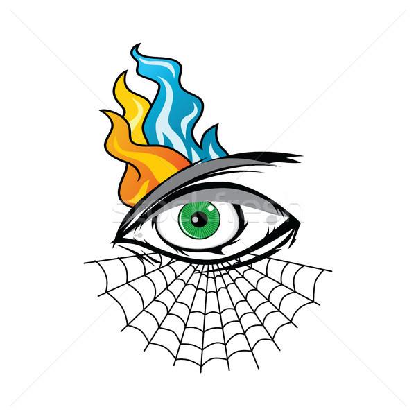 Mérges szem pókháló tetoválás rajz vektor Stock fotó © vector1st