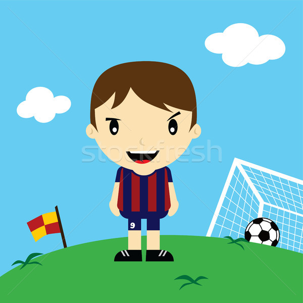 Grappig cartoon voetballer competitie vector kunst Stockfoto © vector1st