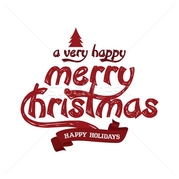 Alegre Navidad feliz año nuevo vector arte signo Foto stock © vector1st