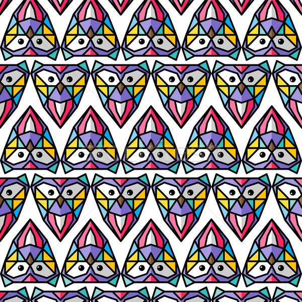 ストックフォト: カラフル · フクロウ · パターン · ベクトル · 芸術 · 鳥