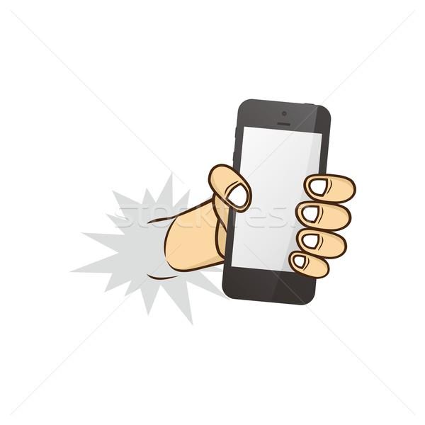 Desenho animado mão telefone cara Foto stock © vector1st